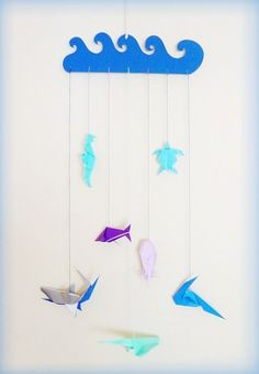 Origami Marine Fauna Mobile - Blue Children Mobile -  Babies mobile