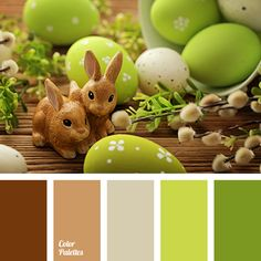 beige, brown, chocolate, cinnamon color, color of grass, color palette to decorate for Easter table decor, colour combination for Easter holiday, gray-brown, greenery, lime green, Pantone color 2017, shades of light green colour, warm brown.