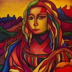"""Mona is a tribute to the master work """"Mona Lisa"""" created by Leonardo da Vinci. She has been created in the signature Modernized Cubism style of artist Darlene Keeffe. Mona is bright in color and character, painted with an array of colors and tones. Mona Lisa Parody, Mona Lisa Smile, Ap Studio Art, Famous Artwork, Classic Artwork, Arte Pop, Italian Artist, Oeuvre D'art, Les Oeuvres"""