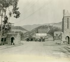 Entrance To Hollywoodland Village in the Hollywood Hills, vintage Los Angeles photo.