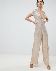 e5b8a0751187 ASOS DESIGN Embellished Plunge Jumpsuit With Wide Leg Nude Dress