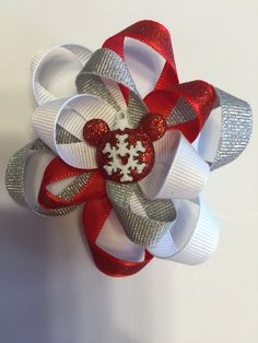 Mickey Mouse hair bow by TotBowsByMaria on Etsy