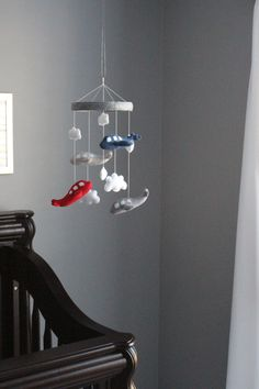 Airplane Mobile  Baby Crib Mobile Blue/Navy Red by LoveAllDesigns