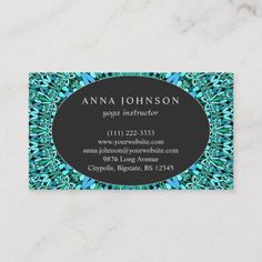 Shop Turquoise Flower Mandala Business Card created by ZyddArt. Elegant Business Cards, Business Card Design, Print Templates, Card Templates, Hair Stylist Gifts, Hair Stylists, Anna Johnson, Hairstylist Business Cards, Turquoise Flowers