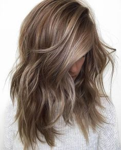 ash brown balayage + blended layers.