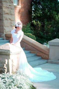 """Nicole Sheffer is every inch the classical bride! She said: """"I also got my dress from OuterInner! I love it!"""" See her dress here: http://www.outerinner.com/ivory-a-line-high-neck-chapel-train-taffeta-wedding-gowns-pd-07006-0.html"""
