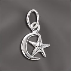 Sun and Moon charm... check out our complete selection of sterling silver charms at  wholesalejewelrysupply.com
