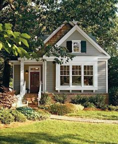 brick foundation, greige house, chunky white trim, shingle siding