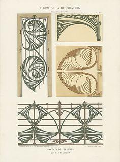 Calavas Art Nouveau Folio Album de la Decoration c. Motifs Art Nouveau, Design Art Nouveau, Motif Art Deco, Bijoux Art Nouveau, Art Nouveau Pattern, Art Nouveau Jewelry, Tatuaje Art Nouveau, Art Et Architecture, Illustration Art Nouveau
