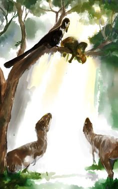 Velociraptor and Juvenile Tarbosaurus by Guindagear It's hard to put a Protoceratops in a tree. It had taken Velociraptor nearly a half an hour to do so, tugging, pulling, hefting the heavy thing. The carcass was floppy and didn't cooperate; the head shield got caught on a protrusion of bark; the limbs bumped and bounced against the tree like unsynced pendulums. As soon as the dromaeosaur's larder was filled—the dead Protoceratops balanced just right—the tarbosaurs came snooping. Dragging a…