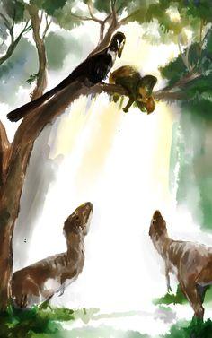 Velociraptor and Juvenile Tarbosaurus by Guindagear