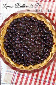 Lemon Buttermilk Pie with Blueberries