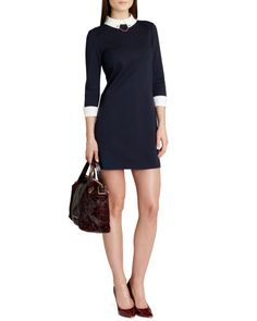 Ted Baker Contrast-collar-dress-Navy