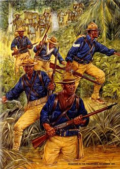 American troops looking great in their turn of the century uniforms. Buffalo Soldiers in the Philippines War The Spanish American War, Native American History, American Civil War, American Soldiers, Us History, Black History, British History, Ancient History, Military Art