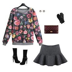 Women's Fashion Flower Suit(Hoodie&Skirt)