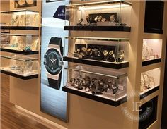 Watch Wall Mounted Glass Display Case with LED Light Wooden Display Cabinets, Wooden Display Cases, Wall Display Case, Wall Display Cabinet, Watch Display, Jewelry Store Displays, Accessories Display, Jewellery Display, Jewellery Showroom