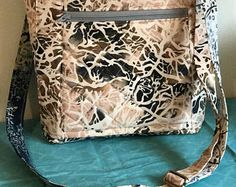Denim Vinyl Foldover Crossbody Bag with adjustable strap