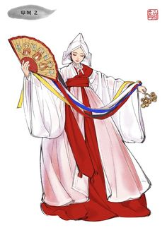 Korean Traditional Clothes, Traditional Fashion, Traditional Dresses, Japanese Outfits, Korean Outfits, Korean Art, Asian Art, Korean Hanbok, Drawing Clothes