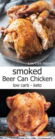 Juicy, Smoked Beer Can Chicken with Dry Rub – an easy chicken recipe for low carb and keto diets. Juicy, Smoked Beer Can Chicken with Dry Rub – an easy chicken recipe for low carb and keto diets. Smoked Beer Can Chicken, Smoked Chicken Recipes, Smoked Chicken Wings, Beer Chicken, Canned Chicken, Traeger Recipes, Grilling Recipes, Buffalo Chicken, Low Carb Beer