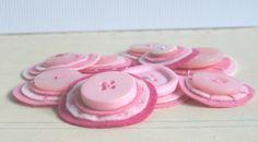 BUBBLEGUM Button Baubles -Set of 9 Layered Pink Felt and Button Embellishments via Etsy