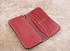 Vegetable tanning leather wallet literary vintage wallet women