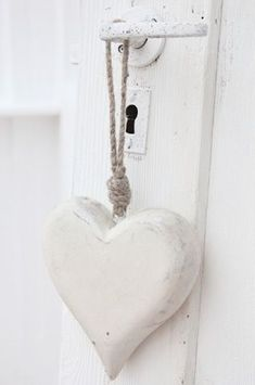 Rustic white heart on rope cord I Love Heart, My Heart, White Cottage, White Aesthetic, Shades Of White, Wooden Hearts, Heart Art, Pure White, Heart Shapes