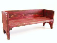 Book Shelf Bench Kitchen Table Top Centerpiece Decorative Wall Decor Red Cottage Chic French Country on Etsy, $45.00