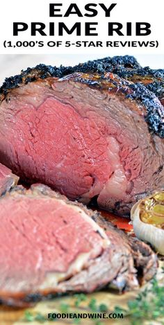 Easy Garlic and Herb Prime Rib Recipe! Easy for beginners to master! This Prime Rib Recipe is loaded with garlic, herbs and flavor. Finish it off with Au Jus for an unforgettable Rib Recipes, Roast Recipes, Cooking Recipes, Smoker Recipes, Cooking Bacon, Cooking Games, Cooking Classes, Cooking Steak, Carne Asada