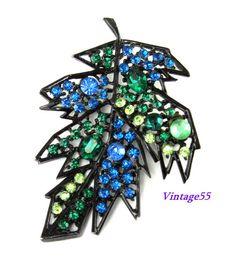 Brooch Blue Fall Leaf Rhinestone by Vintage55 on Etsy