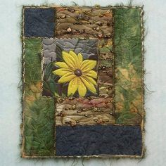 Rudbeckia on the Rocks- Bead Embellished Mini Art Quilt 8 x 10 Small Quilts, Mini Quilts, Crazy Quilt Blocks, Crazy Quilting, Art Quilting, History Of Quilting, Fabric Postcards, Crazy Patchwork, Fabric Journals
