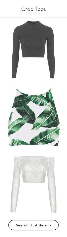 """""""Crop Tops"""" by courageousmind ❤ liked on Polyvore featuring tops, shirts, crop tops, sweaters, cut-out crop tops, petite tops, petite long sleeve shirts, long-sleeve crop tops, ribbed top and swimwear"""