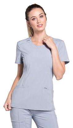 421ce2d5b54 Cherokee Infinity Women's Split Round Neck Solid Scrub Top Medium Grey  Cherokee Uniforms, Scrubs,