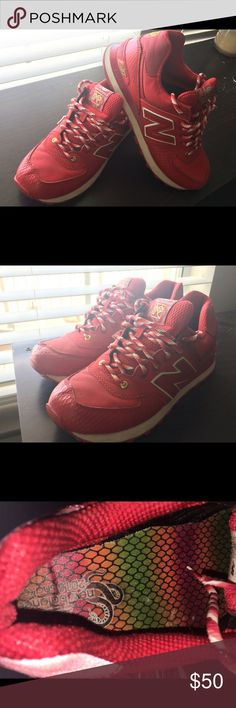 Red new balance 574 year of the snake Year of the sneak pack (1of3), Size 8 in men (size 10 in women, run small), worn seldomly New Balance Shoes Sneakers