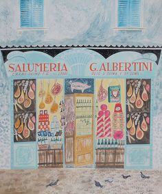 'Salumeria G. Albertini, Verona' by Emily Sutton (watercolour) / I love how harmonious each color is as a whole painting. I feel that most colors are of similar saturation and warmth(?). Children's Picture Books, Shop Fronts, Food Illustrations, Ikon, House Painting, Snow, Shop Windows