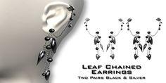 :Fusion: Silver & Black Leaf Chain Earrings