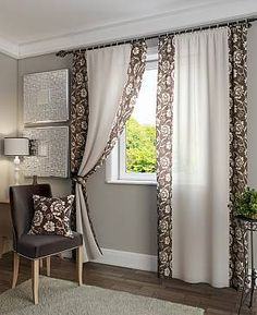 Window Treatment Ideas - Whether youre searching for curtains, tones or something in between, right here are 25 remarkable window therapies that are DIY-friendly. Living Room Decor Curtains, Diy Curtains, Bedroom Curtains, Living Rooms, Curtain Styles, Curtain Designs, Cheap Home Decor, Diy Home Decor, Rideaux Design