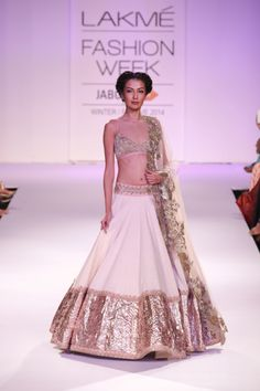 Indian wedding lehenga by anushree reddy 2014 white and gold bridal outfit #shaadibazaar