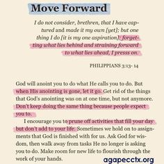 Move forward and be encouraged as God our Heavenly Father has it all under control.     #Agapestrong, #LetGodAndLetGod, #Moveforward