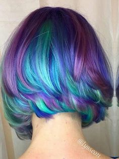 Dyed purple turquoise hair color @lysseon