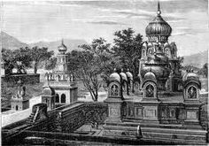"#Pune a sketch - Hindu Temples near Poona - from ""Lippincott's Magazine of Popular Literature and Science February, 1876, Vol. XVII, No. 98 """