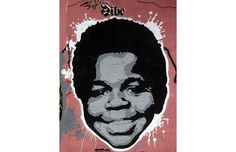 Graffiti of actor Gary Coleman is pictured on a wall in Dublin