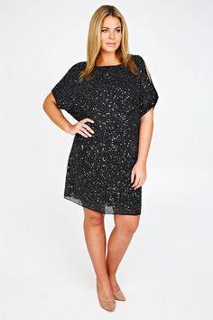 Black Chiffon Fully Embellished Dress With Cold Shoulder Detail