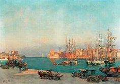 "Jean Baptiste Olive,  ""Le Vieux Port,  Marseille"" Landscape Art, Provence, France, Nature, Painting, Image, Buildings, Landscapes, Oil On Canvas"