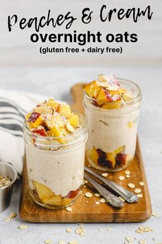 Peaches and Cream Overnight Oats Peaches And Cream Recipe, Peach Overnight Oats, Dairy Free Overnight Oats, Brunch, Gluten Free Oats, How Sweet Eats, Cream Recipes, Dairy Free Recipes, Summer Recipes