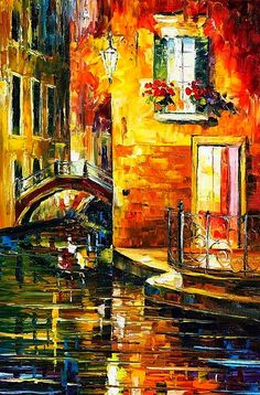 Leonid Afremov ~c.c.c~Sunset Over The Canal