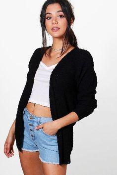 #boohoo Loose Knit Slouchy Boyfriend Cardigan - black #Phoebe Loose Knit Slouchy Boyfriend Cardigan - black