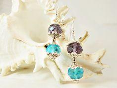 Statement sleeping beauty turquoise purple by 10dollarjewellery #purple #turquoise #silver #filigree #earrings #etsy