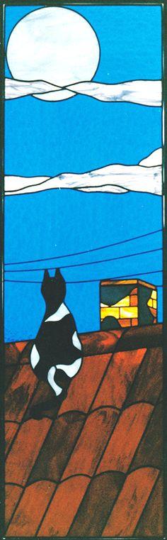 cat on roof ##glass-art Rilegatura a piombo | Vetrarte