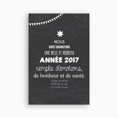 Optez pour cette jolie  carte de voeux 2017 pour souhaiter une bonne et heureuse année à tous vos proches. Son effet ardois lui offre un joli design Christmas And New Year, Christmas Cards, Xmas, Christmas Ideas, New Year 2018, Christmas Scrapbook, Funny Birthday Cards, New Year Card, Graphic Design Typography