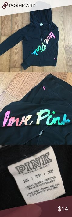 """VS PINK hoodie XS EUC Super cute black hoodie with """"love pink"""" written in rainbow cursive on the left sleeve. Only worn a few times, maybe washed 2-3 times. 🍁HOODIE TIE IS MISSING🍁 that's the only flaw. Also, this comes from a pet friendly home and may have a few strays hairs on it. Any questions please ask. 💕OFFERS WELCOME/BUNDLE AND SAVE💕 PINK Victoria's Secret Sweaters"""